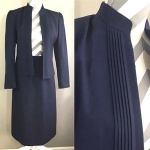 Vintage 70s 80s Sassoon Navy Skirt Suit